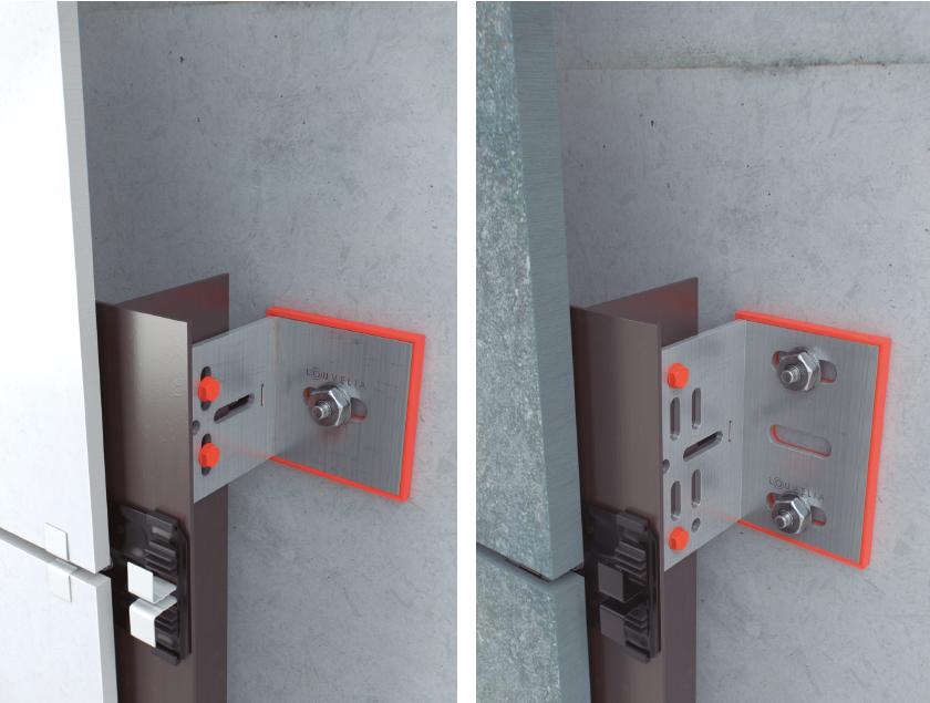 Sistema de fijación FTS 501-A para fachadas ventiladas de Louvelia destinado a revestimientos cerámicos